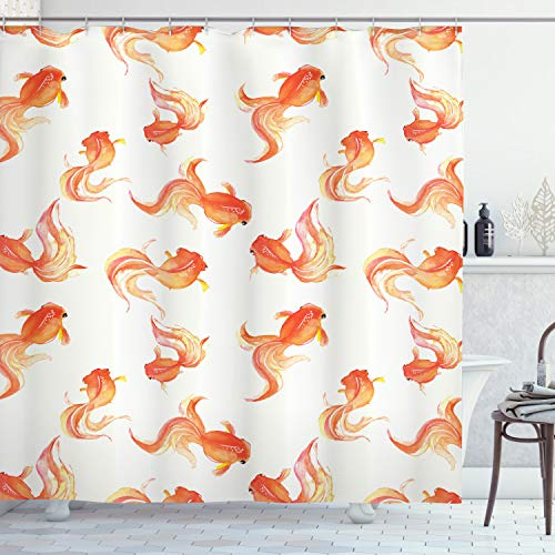 Ambesonne Fish Shower Curtain, Goldfish with Bubble Eye Pattern Illustration with Sea Animals Print, Cloth Fabric Bathroom Decor Set with Hooks, 75