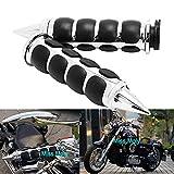 Empuñaduras de Manillar Motocicleta, Puños de Manillar de 1 Pulgada de 25 mm para Cruisers Choppers (#1-Cromo)