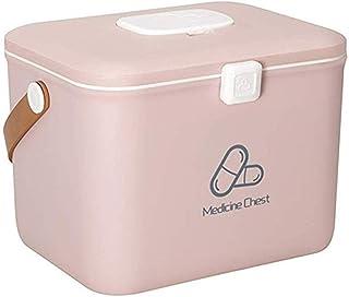 AINIYF Small Medicine Box Lock Box with Child Protection Prescription Multi-Layer First Aid Kit Medicine Storage Box (Color : Pink)