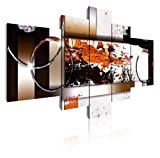 DekoArte 87 - Cuadros Modernos Impresión de Imagen Artística Digitalizada | Lienzo Decorativo Para Tu Salón o Dormitorio | Estilo Abstracto Moderno Colores Ocre Negro Blanco | 5 Piezas 180 x 85 cm XXL