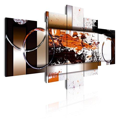 DekoArte 87 - Cuadros Modernos Impresión de Imagen Artística Digitalizada   Lienzo Decorativo Para Tu Salón o Dormitorio   Estilo Abstracto Moderno Colores Ocre Negro Blanco   5 Piezas 180 x 85 cm XXL