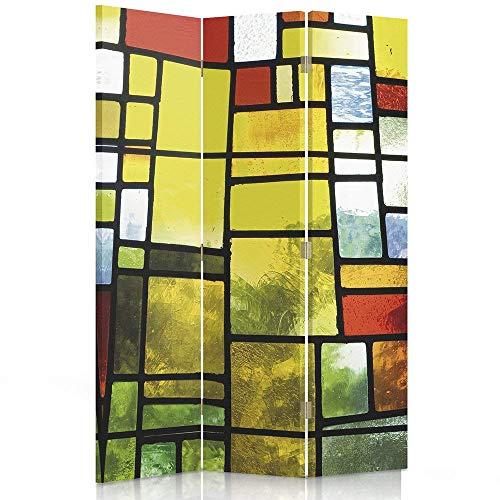 Feeby Frames. Raumteiler, Ggedruckten aufCanvas, Leinwand Wandschirme, dekorative Trennwand, Paravent beidseitig, 3 teilig (110x150 cm), ABSTRAKTION, Geometrie, QUADRATE, FARBIGES Glas, GELB, GRÜN