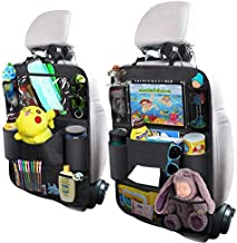 OYRGCIK Backseat Car Organizer, Kick Mats Car Back Seat Protector with Touch Screen Tablet Holder Tissue Box 8 Storage Pockets for Toys Book Bottle Drinks Kids Baby Toddler Travel Accessories, 2 Pack