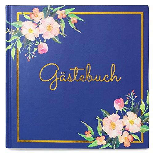 Lorsenberg Gästebuch - Hardcover Hochzeitsbuch 64 Seiten hochwertig | Boho Vintage Blumen | blanko...
