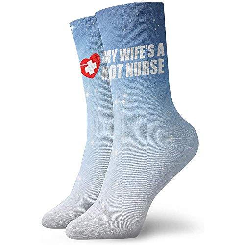 My Wife Is A HOT Nurse Socks Men's Women's Athletic Soccer Dress Socks Casual Crew Socks