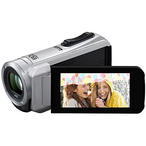 JVC GZ-R10SEU Speicherkarten-Camcorder (2,5 Megapixel, 40-Fach Opt. Zoom, 7,6 cm (3 Zoll) LCD-Display, Full HD, SDXC/SDHC/SD-Kartenslot) Silber