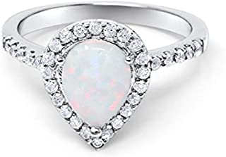 Blue Apple Co. Halo Teardrop Bridal Filigree Ring Pear Created White Opal Round CZ 925 Sterling Silver