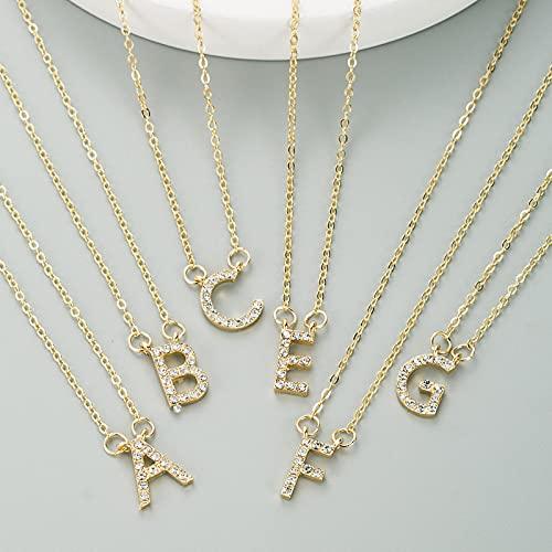 ShSnnwrl Colgante Elegante Collar con Letra Inicial de Diamantes de imitación, Collares con Nombre Personalizado para Mujer, Coll
