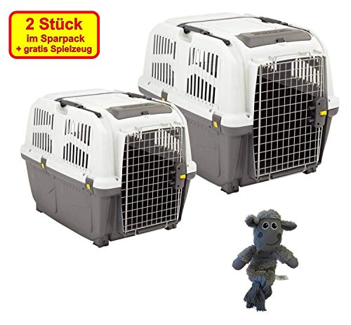 PETGARD 2er Sparpaket Transportbox SKUDO 4 + 5 IATA mit gratis Hundespielzeug