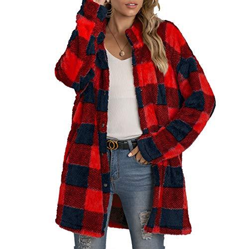 Abrigo de longitud media con estampado a cuadros para mujer, chaqueta de manga larga con cuello de solapa para otoño, ropa cálida de invierno, rosso, M