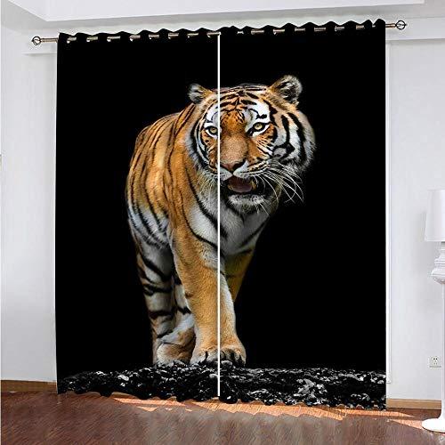 MPHWCL Cortina Decorativa Opaca con Ojales Tigre Animal Negro 3D Impresión Digital térmicas Opacas aislantes de frío y Calor Ideal 234 x 230 cm para Habitación Niños Niñas Salón