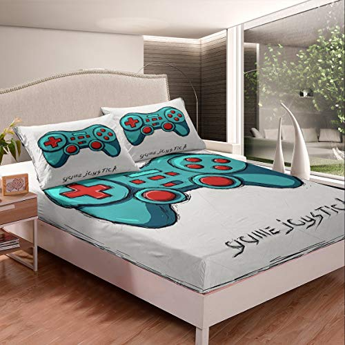Feelyou Gamepad Bed Sheet Set Game Joys Tick Bedding Set for Kids Boys Teens Games Fitted Sheet Green Video Game Gamepad Bed Cover Luxury Room Decor 2Pcs Sheets Twin Size