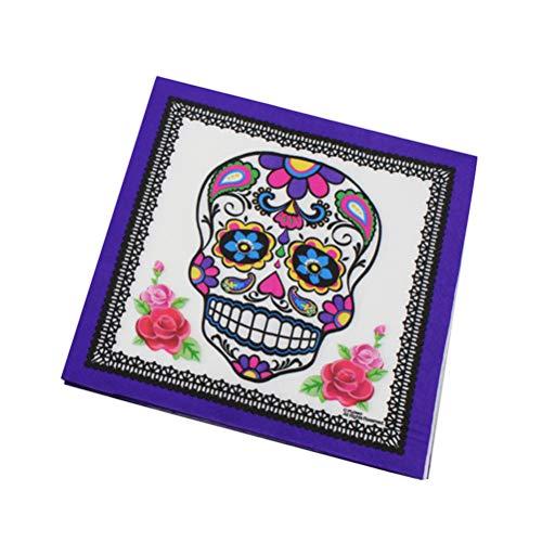 VOSAREA Servietten mit 20 Blatt Druck Papierservietten USA mit Totenkopf-Motiv kreativ Halloween für Gathering Bar Home