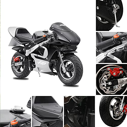 Fit Right 2020 Mini Gas Pocket Bike 02 On 40cc 4 Stroke, Support Up to 165 lbs, EPA Approved, Perfect Mini Pocket Bike for Kids (Black)