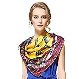 BXR Bufanda de Seda de Lujo para Mujer, Primavera y Verano, 110 cm, Bufanda Cuadrada, protección Solar, Aire Acondicionado, Chal (Color : Amarillo)