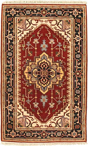 eCarpet Gallery Area Rug for Living Room, Bedroom | Hand-Knotted Wool Rug | Serapi Heritage Bordered Red Rug 3