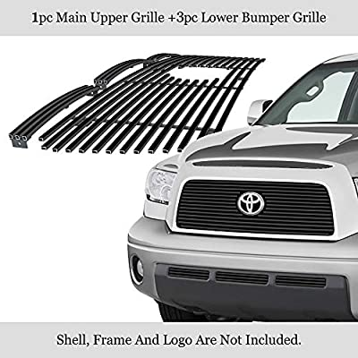 APS Premium Stainless Steel Black 8x6 Horizontal Billet Grille Combo Compatible with Toyota Tundra 2007-2009 with Logo Show N19-J14876T