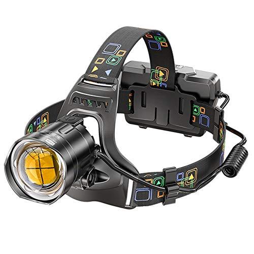 Faros LED, Faros con Zoom, Aventuras Al Aire Libre, Pesca Nocturna, Correr, Luz Súper Brillante, Tiro Largo