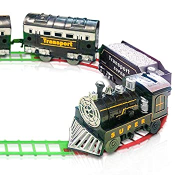 ArtCreativity Train Set for Kids Battery-Operated Toy Train with 4 Cars and Tracks Durable Plastic Cute Christmas Holiday Train for Under The Tree Great Gift Idea for Boys and Girls