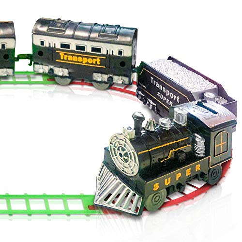 ArtCreativity Train Set for Kids, Battery-Operated Toy Train with 4 Cars and Tracks, Durable Plastic, Cute Christmas Holiday Train for Under The Tree, Great Gift Idea for Boys and Girls