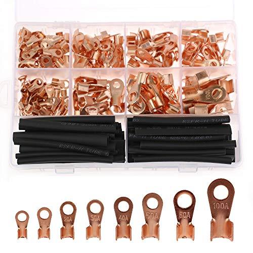 Kit de terminales de terminal de cobre de 275 piezas, Conector de engarce del cable del cable del terminal del cable de la clavija abierta + Tubo termorretráctil negro 60 piezas
