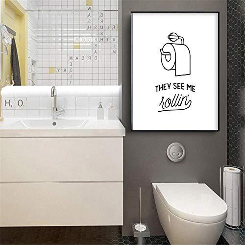 Estilo nórdico Lienzo Pintura Pared Arte Cartel Dibujos Animados baño Papel higiénico Cuadros decoración para el hogar Impresiones para Pasillo 40x50 cm sin Marco