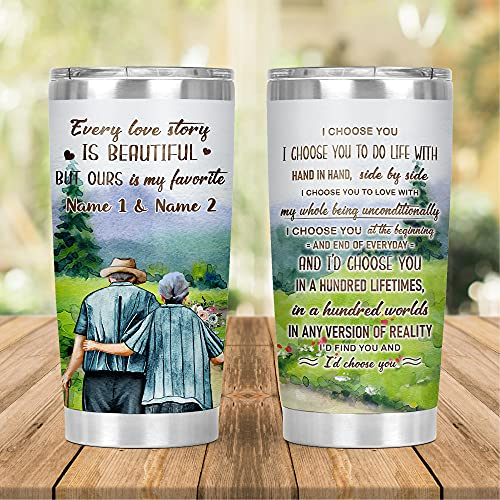 Personalized Old Couple Tumbler, Gifts For Husband, Wife, Wedding Anniversary Customized Gifts, Grandpa Grandma Custom Tumbler, I Choose You Couple Cup