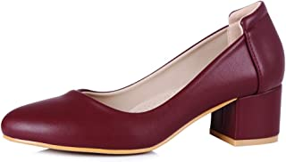 sorliva Women's Low Heel Pumps Pointed Closed Toe Chunky Block High Heel Pumps Office Dress Shoes