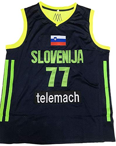 Luka Doncic Stitch Euro Basketball Jersey League Patch Neon XS-3XL (Large)