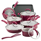 Rachael Ray Create Delicious Nonstick Cookware Pots and Pans Set, 13 Piece, Burgundy Shimmer