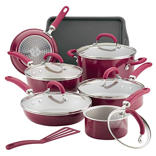 Rachael Ray 12145 Create Delicious Nonstick Cookware Pots and Pans Set, 13 Piece, Burgundy Shimmer