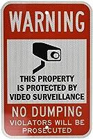 ティンサイン高輝度グレード反射、凡例警告:ビデオ監視はグラフィックでダンプなし、白地に黒/赤アルミ金属道路標識の壁の装飾