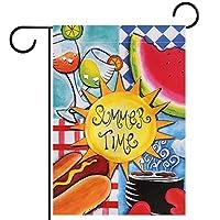 ガーデンサイン庭の装飾屋外バナー垂直旗夏のスイカホットドッグピクニックサンシャイン オールシーズンダブルレイヤー