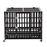 PANEY 37' Large Heavy Duty Metal Rolling Dog Crate Cage Pet Kennel Playpen Exercise w/Wheels Tray Square Tube