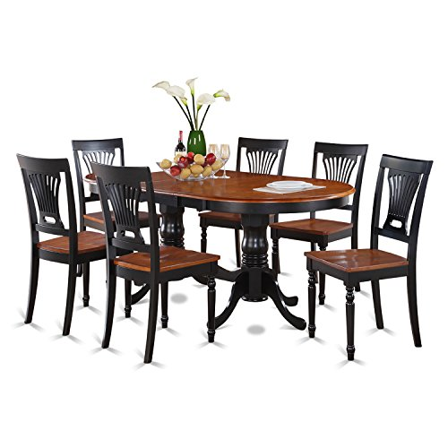 East-West-Furniture-PLAI7-WHI-C-7-PC-Dining-Room-Set-for-6-Dining-Table