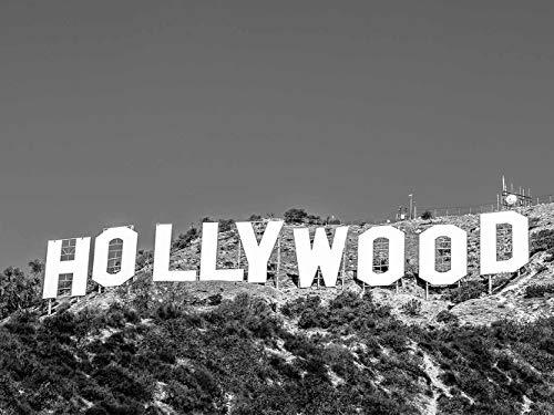 Oedim Tableau Cadre en PVC Impression Numérique Le Grand Panneau Hollywood Sign Noir et Blanc| 200 x 60 cm | Décoration Murale Maison en Cadre Photo léger, élégant, résistant et économique