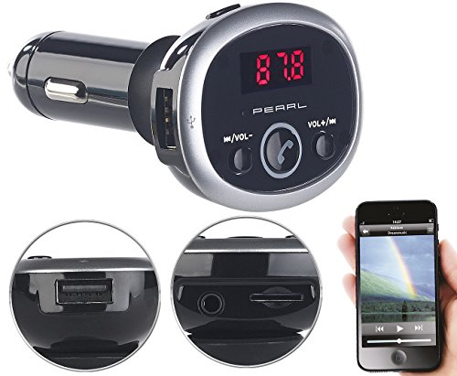 auvisio Kfz Transmitter: MP3-FM-Transmitter mit Bluetooth, Freisprecher, USB-Port, für 12/24 V (Transmitter Auto Bluetooth)