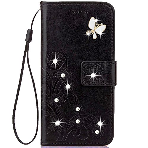 LG Stylo 3 Wallet Case,HAOTP 3D Handmade Bling Crystal Rhinestone Butterfly Floral Lucky Flowers Embossed PU Flip Stand Card Slots Holders Leather Case for LG Stylo 3 Plus/LG LS777 (Bling/Black)