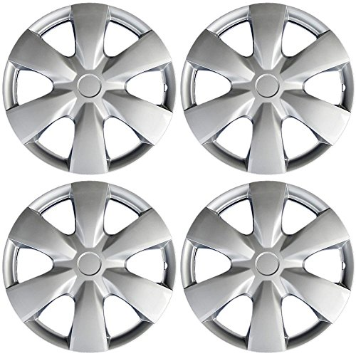 15 inch Hubcaps Compatible with 04-20 Toyota Yaris - (Set of 4) Wheel Covers 15in Hub Caps Silver Rim Cover - Car Accessories for 15 inch Wheels - Snap On Hubcap, Auto Tire Replacement Exterior Cap