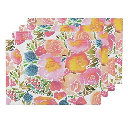 Aquarell erröten Pastell Aquarell Blumenstrauß Blumen Blumen Hochzeit Frühling Kindergarten von Laurawrightstudio Tischsets 4er-Set