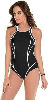 Miraclesuit Women's Swimwear Prismatix Line Up High Neckline Full Bust Support Tummy Control One Piece Swimsuit