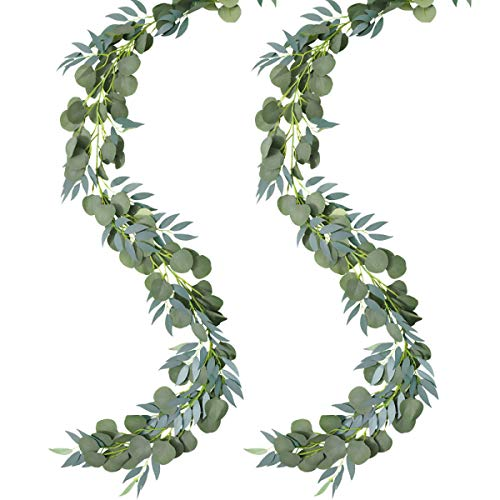 N / A 6.5 Feet Artificial Eucalyptus Willow Garland Faux 2 PCS Silk Silver Dollar Eucalyptus Willow Twigs Leaves Vines Greenery Handing Plants for Wedding Party Backdrop Arch Wall Home Decor