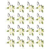 TOPBATHY 12Pcs Ganchos de Cortina de Ducha Flor Deslizamiento Anillo de Cortina Ganchos Baño Drapeado Bucle Perchas de Resina a Prueba de Herrumbre para Baño en Casa
