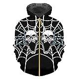 Oinrenstkp Man Halloween 3D Imprimé Toile d'araignée et des crânes Tendance personnalité Zip Hoodies Spider Web Skulls XL