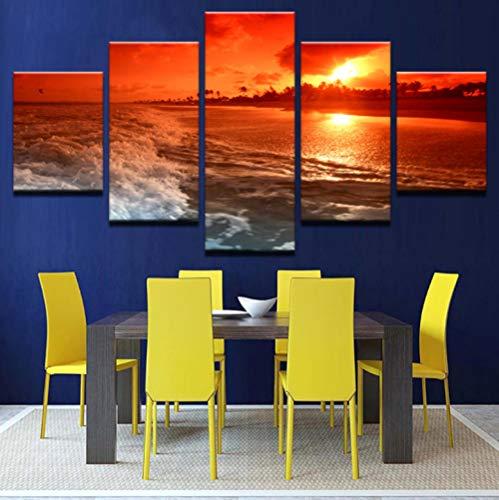 Cuadros en Lienzo Puesta De Sol Playa - Impresiones de la Lona - Pintura Poster Pared Fotos para Dormitorios Decoración - Moderna Canvas Wall Art - Listo para Colgar, 5 Piezas, 150x80cm, Enmarcado