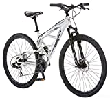 Mongoose Impasse Mens Mountain Bike, 29-Inch Wheels, Aluminum Frame, Twist Shifters, 21-Speed Rear Deraileur, Front and Rear Disc Brakes, Silver