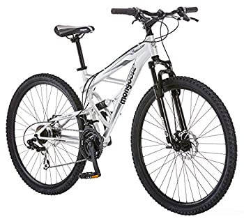 Mongoose Impasse Mens Mountain Bike 29-Inch Wheels Aluminum Frame Twist Shifters 21-Speed Rear Deraileur Front and Rear Disc Brakes Silver