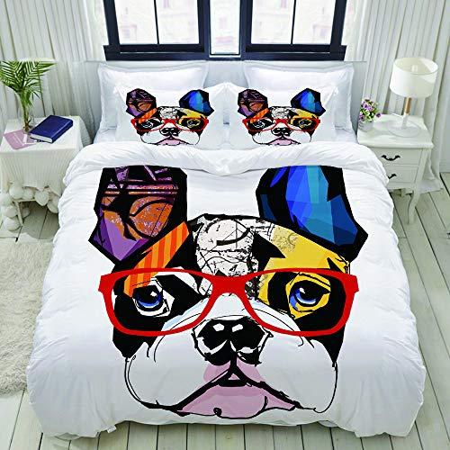 ALLMILL Bedding Juego de Funda de Edredón,Retrato de Bulldog francés con anteojos Modernos Ojos y Ojos Modernos y Abstractos,Microfibra Funda de Nórdico y Fundas de Almohada - 200 x 200cm
