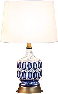 Lampe de Table en céramique cuivre méditerranéen Lampe d'étude Salon Chambre Lampe de Chevet Chaud Bleu et Blanc Porcelain...