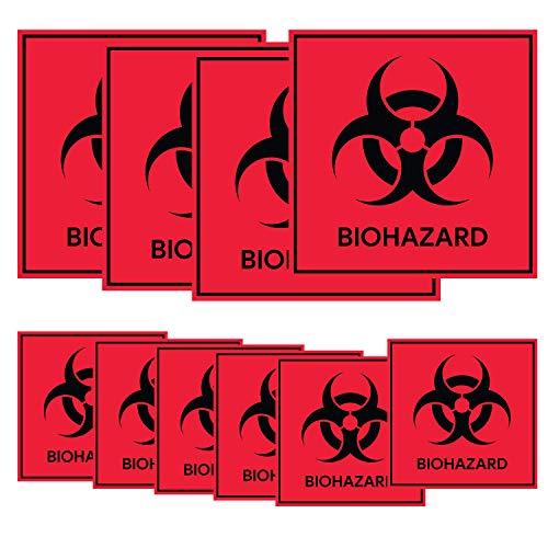 Etichetta BIOHAZARD Danger Warning sign sticker decal, Etichetta di avvertimento di sicurezza per pericolo, Segnali di pericolo Pericolo Segnale di sicurezza Biohazard 120 Pezzi